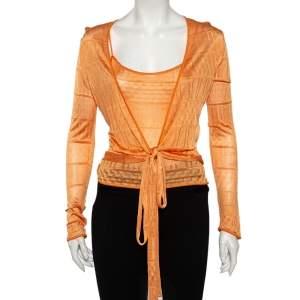 توب أم ميزوني كاميسول تريكو مثقب برتقالي ملتف مقاس صغير - سمول