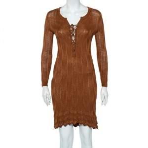 M Missoni Brown Patterned Knit Lace Up Detail Midi Dress M