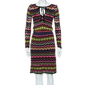 M Missoni Multicolor Zig Zag Patterned Knit Midi Dress M