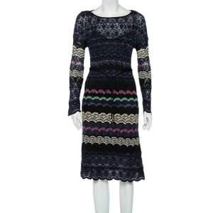 M Missoni Multicolor Patterned Knit Waist Tie Detail Midi Dress M