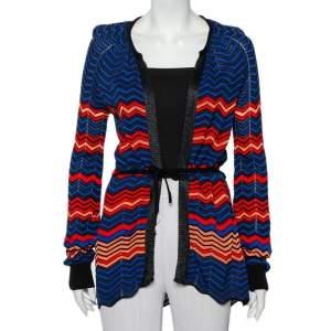 M Missoni Multicolor Pointelle Knit Waist Tie Detail Cardigan M