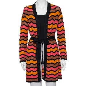 M Missoni Multicolor Patterned Knit Belted Long Cardigan M