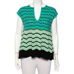 M Missoni Green Zig Zag Knit Flared Top M