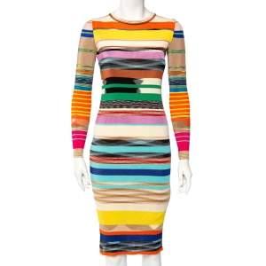 Missoni Multicolor Striped Rib Knit Sheath Dress S