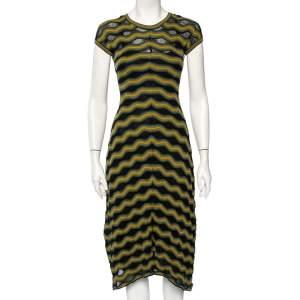 M Missoni Multicolor Wave Paneled Knit Flared Midi Dress S