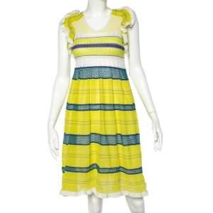 M Missoni Green Knit Paneled Ruffle Sleeve Midi Dress M