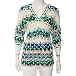 M Missoni Multicolored Perforated Knit Short Sleeve Top M