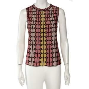 M Missoni Pink Lurex Knit Circle Pattern Top M
