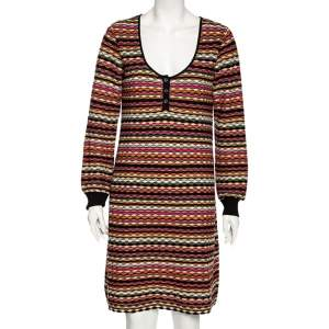 M Missoni Multicolored Patterned Knit Sweater Dress L