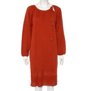 M Missoni Rust Orange Perforated Knit Neck Tie Detail Midi Dress L