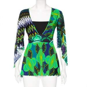M Missoni Green Abstract Printed Jersey Embellished Detail Tunic M