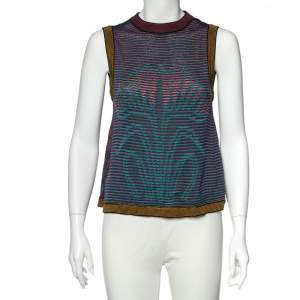 M Missoni Multicolored Floral & Abstract Knit Sleeveless Top M