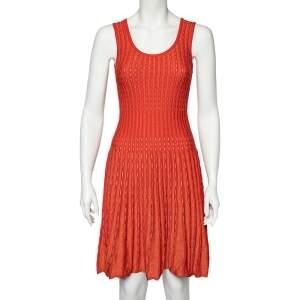 M Missoni Orange Perforated Lurex Knit Sleeveless Fit & Flare Dress S