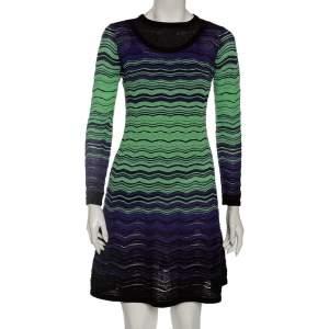 M Missoni Purple & Green Crochet Knit Long Sleeve Dress S