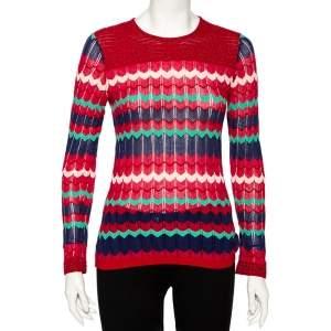 M Missoni Red Knit Lurex Panel Detailed Long Sleeve Top M