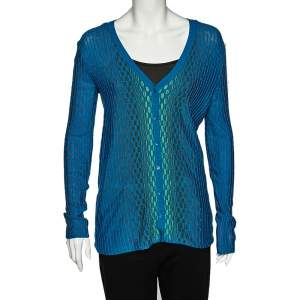 M Missoni Blue Patterned Dobby Knit Button Front Cardigan M
