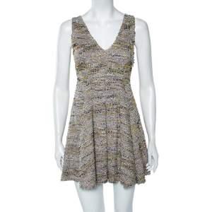 M Missoni Multicolored Lurex Knit Sleeveless Pleated Short Dress S