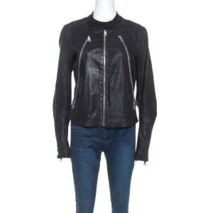 Maison Martin Margiela Black Leather Zip Detail Jacket L