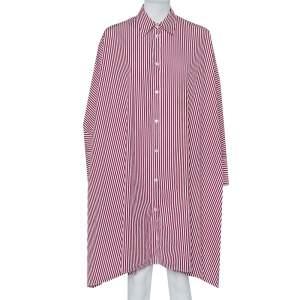 Maison Martin Margiela Burgundy Striped Cotton Oversized Shirt Dress M