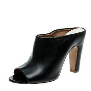 Maison Martin Margiela Black Leather Peep Toe Mules Size 39.5