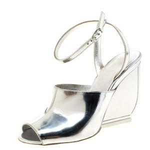 Maison Martin Margiela Silver Patent Leather Mirror Heel Ankle Strap Sandals Size 35