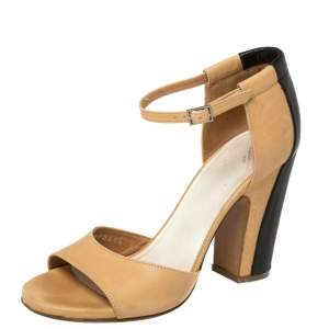 Maison Martin Margiela Beige/Black Leather Ankle Strap Sandals Size 37
