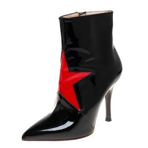 Maison Martin Margiela Black/Red Patent Leather Ankle Boots Size 39