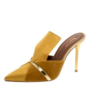 Malone Souliers Mustard Satin and Velvet Danielle Mules Size 38.5