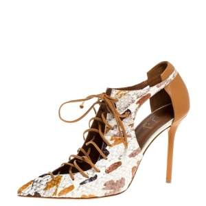 Malone Souliers Brown/White Python Leather Montana Pointed Toe Lace Up Pumps Size 40