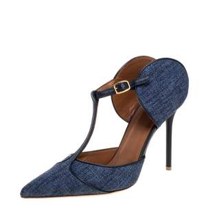 Malone Souliers Blue Canvas And Leather Trim Imogen Pumps Size 40