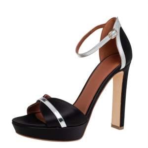 Malone Souliers Black/Silver Satin Miranda Ankle Strap Sandals Size 39