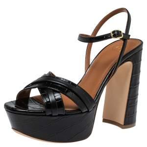 Malone Souliers Black Croc Embossed Leather Mila Ankle Strap Platform Sandals Size 37.5