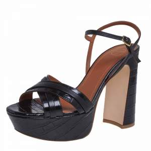 Malone Souliers Black Croc Embossed Leather Mila Ankle Strap Sandals Size 38