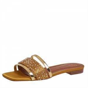 Malone Souliers Gold/Mustard Patent Leather And Satin Rosa Crystal Embellished Slide Sandals Size 36.5