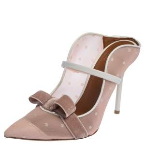 Malone Souliers By Roy Luwolt Pink Mesh And Velvet Marguerite Bow Mules Size 39