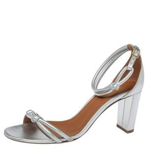 Malone Souliers Metallic Silver Leather Fenn Ankle Strap Sandals Size 41