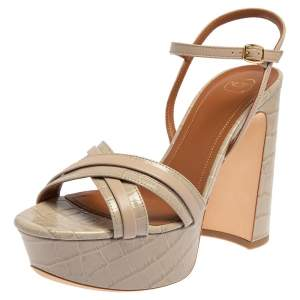 Malone Souliers Grey Croc Embossed Leather Mila Ankle Strap Platform Sandals Size 39