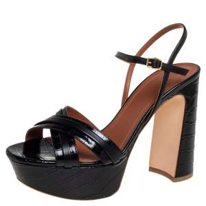 Malone Souliers Black Croc Embossed Leather Mila Ankle Strap Sandals Size 39