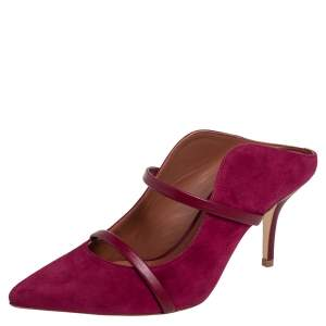 Malone Souliers Burgundy Suede and Leather Maureen Pointed Toe Mules Size 37.5