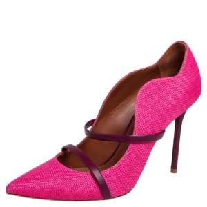 Malone Souliers Purple/Pink Fabric and Leather Maureen Pumps Size 39