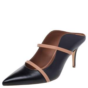 Malone Souliers Black/Beige Leather Maureen Pointed Toe Mules Size 39