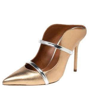 Malone Souliers Metallic Gold Leather Maureen Mule Sandals Size 38
