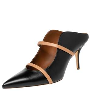 Malone Souliers Black/Beige Leather Maureen Mules Size 40.5