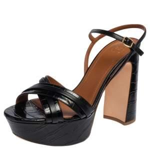 Malone Souliers Black Croc Embossed Leather Mila Platform Sandals Size 39