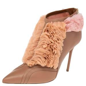 Malone Souliers Beige/Pink  Leather And Mesh  Fluffy Ankle Boots Size 40