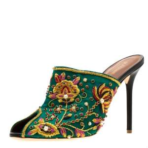 Malone Souliers Green Floral Embroidered Satin Peep Toe Mules Size 40