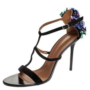 Malone Souliers Black Strappy Suede Floral Embellished Open Toe Sandals Size 41