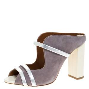 Malone Souliers Grey/Silver Suede and Leather Maureen Block Heel Sandals Size 37