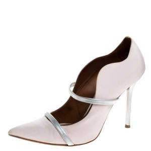 Malone Souliers Pink Moire Fabric Maureen Pointed Toe Pumps Size 39