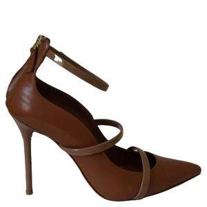 Malone Souliers Brown Leather Robyn Ankle Strap Pumps Size 38